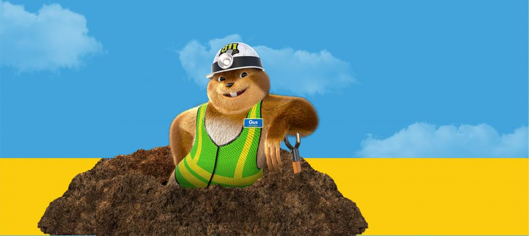 Gus the Gopher with shovel