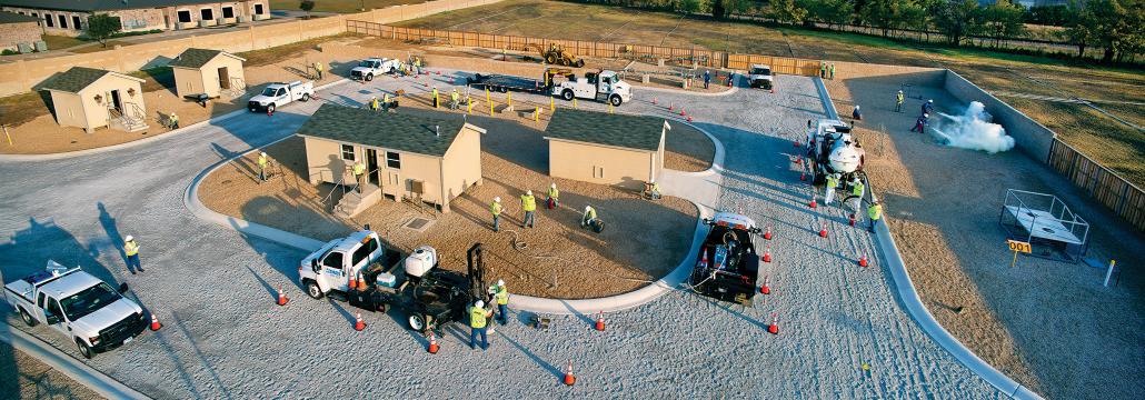 Aerial shot of a simulated neighborhood where employees train to read meters.