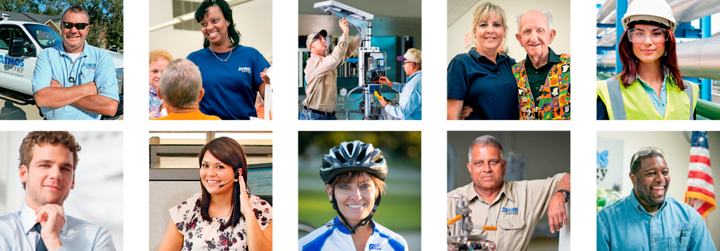 12 images of employees in a collage in various job positions.