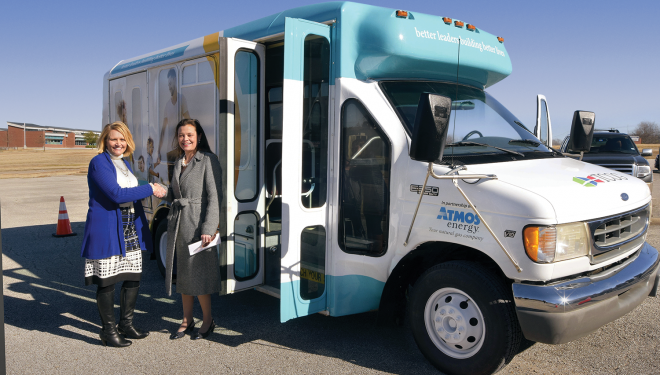 Atmos Energy donates a bus to a community action agency