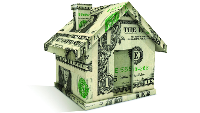 Graphic image of a house constructed of one dollar bills
